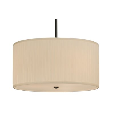 Cilindro Mushroom Pleated Textrene 3-Light Drum Pendant Size: 14 - 120 H x 24 W x 24 D