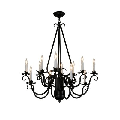Greenbriar Oak Caleb 12-Light Candle-Style Chandelier