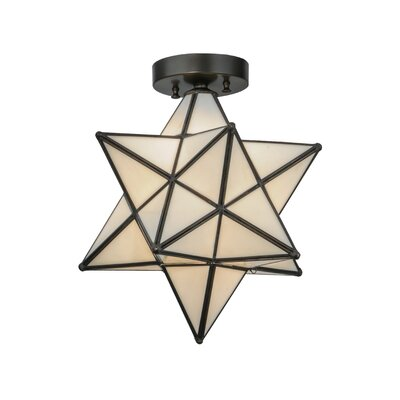 Moravian Star 1-Light Flush Mount Shade Color: White
