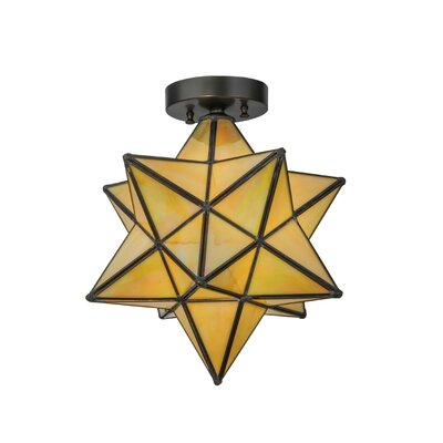 Moravian Star 1-Light Flush Mount Shade Color: Beige Iridescent