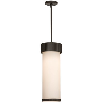 Greenbriar Oak Cilindro Corrugated 1-Light Mini Pendant Size: 39.5 H x 8 W x 8 D