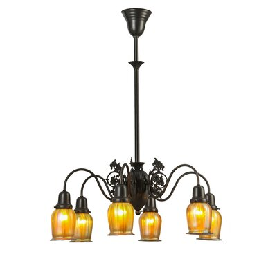Greenbriar Oak Favrile 6-Light Shaded Chandelier