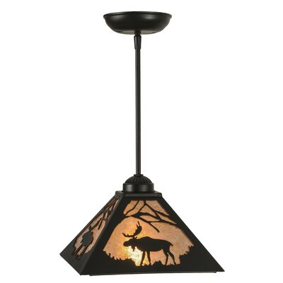 Greenbriar Oak Lone Moose 1-Light Mini Pendant