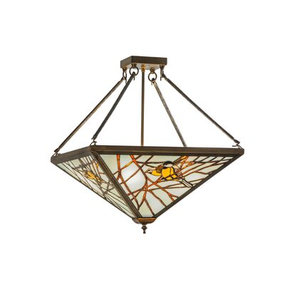 Greenbriar Oak Backyard Friends 4-Light Semi-Flush Mount