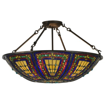 Greenbriar Oak Fleur-de-lis 4-Light Semi-Flush Mount