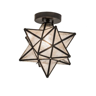 Moravian Star 1-Light Flush Mount Shade Color: Clear Seedy