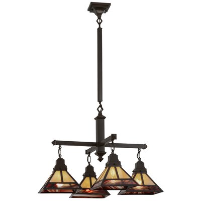 Greenbriar Oak T Mission 4-Light Shaded Chandelier