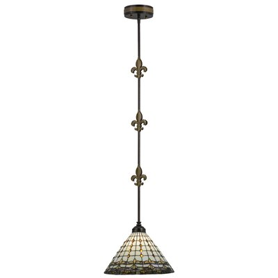 Greenbriar Oak Fleur-de-Lite 1-Light Mini Pendant