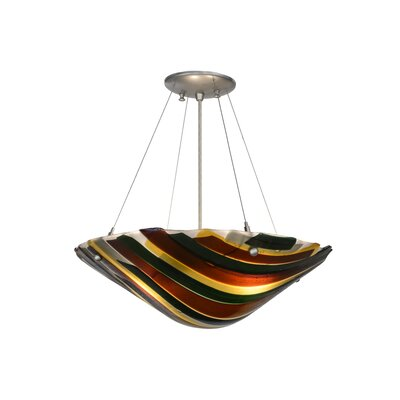 Greenbriar Oak Metro Fusion Penna Di Pavone 2-Light Inverted Pendant