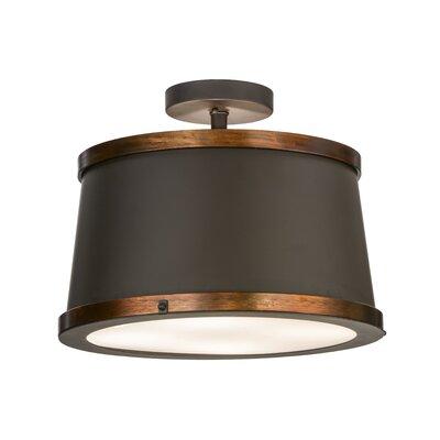 Greenbriar Oak Cilindro Reel 4-Light Semi-Flush Mount