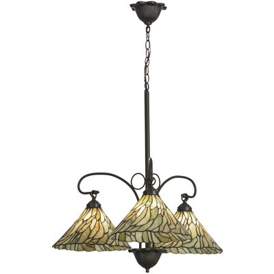 Greenbriar Oak Willow Jadestone 3-Light Shaded Chandelier