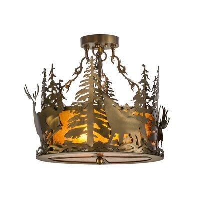 Greenbriar Oak 2-Light Semi-Flush Mount