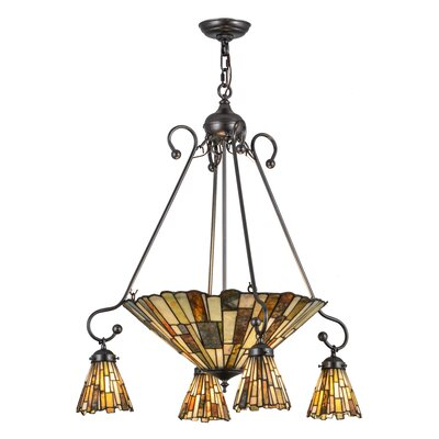 Greenbriar Oak Delta Jadestone 5-Light Shaded Chandelier
