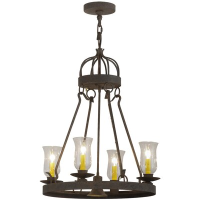 Greenbriar Oak 4-Light Shaded Chandelier