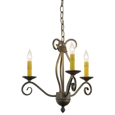 Greenbriar Oak Sienna 3-Light Candle-Style Chandelier