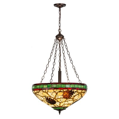 Greenbriar Oak Pinecone 4-Light Bowl Pendant Light