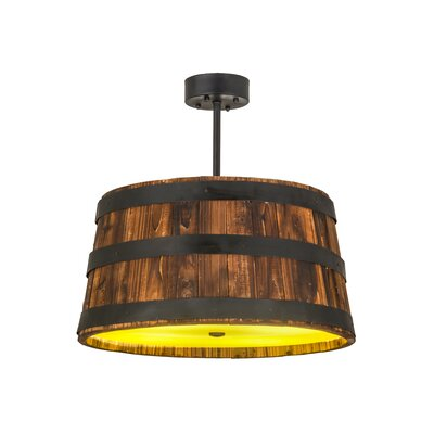 Whiskey Barrel 4-Light Drum Pendant