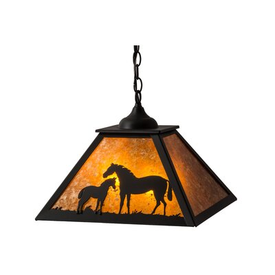 Greenbriar Oak Mare and Foal 2-Light Mini Pendant
