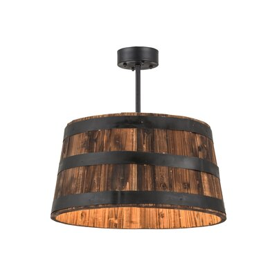 Greenbriar Oak Whiskey Barrel 4-Light Drum Pendant