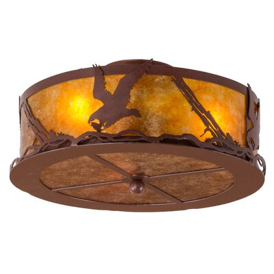 Greenbriar Oak Strike of the Eagle 3-Light Semi-Flush Mount