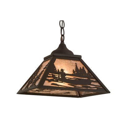 Greenbriar Oak Canoe Tall Pines 1-Light Mini Pendant