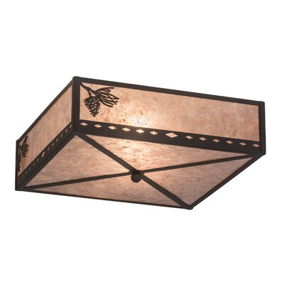 Greenbriar Oak Diamond Mission Pine Cone 2-Light Flush Mount
