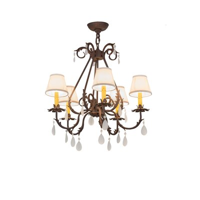 Greenbriar Oak Chantilly 5-Light Shaded Chandelier