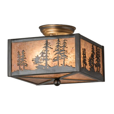 Greenbriar Oak Tall Pines 2-Light Semi-Flush Mount