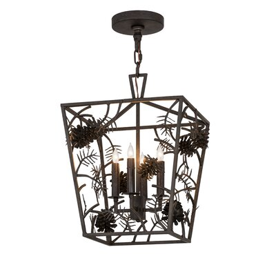 Greenbriar Oak Kitzi Pinecone 4-Light Pendant
