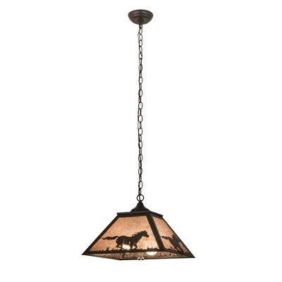 Greenbriar Oak Running Horse 2-Light Pendant