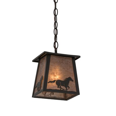Greenbriar Oak Running Horse Lantern 1-Light Mini Pendant