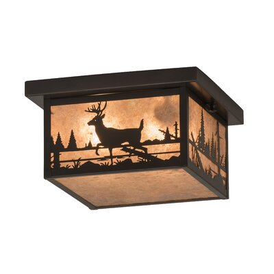 Greenbriar Oak 2-Light Flush Mount Finish: Silver Mica