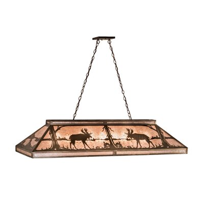 Moose at Lake 9-Light Pendant Shade Color: Amber Mica