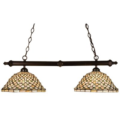 Tiffany Diamond and Jewel 2-Light Pool Table Light
