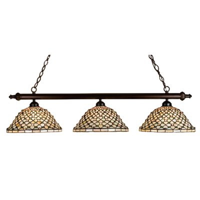 Tiffany Diamond and Jewel 3-Light Pool Table Light