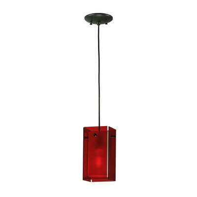 Metro Quadrato 1-Light Mini Pendant Shade Color: Red