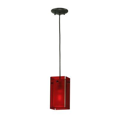 Metro Quadrato 1-Light Mini Pendant Shade Color: Red