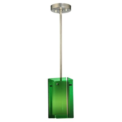Metro Quadrato 1-Light Mini Pendant Shade Color: Green