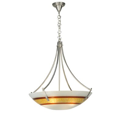 Metro Fusion Saturno Glass 4-Light Inverted Pendant Base Finish: Silver