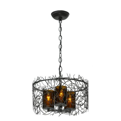Greenbriar Oak Twigs 3-Light Drum Pendant