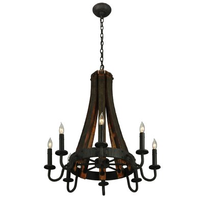 Greenbriar Oak Barrel Stave Madera 8-Light Candle-Style Chandelier