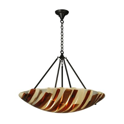 Greenbriar Oak Metro Fusion Marina 4-Light Inverted Pendant
