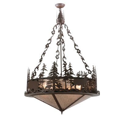 Greenbriar Oak Wildlife at Dusk 4-Light Inverted Pendant