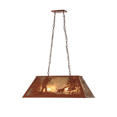 Quail Hunter with Dog 6-Light Pool Table Pendant Size: 18 - 44 H x 33 W x 17 D