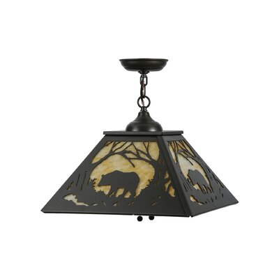 Bear at Dawn 2-Light Geometric Pendant Finish: Timeless Bronze