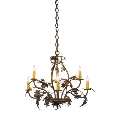 Leaf and Acorn 6-Light Candle-Style Chandelier