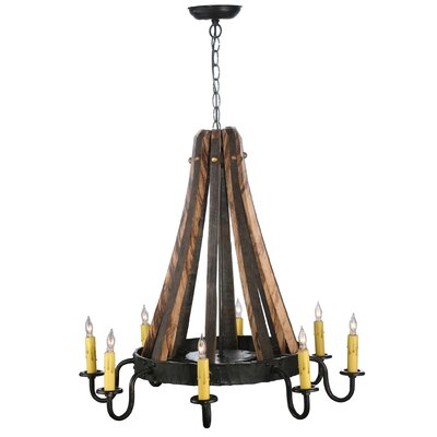 Barrel Stave Madera 8-Light Candle-Style Chandelier