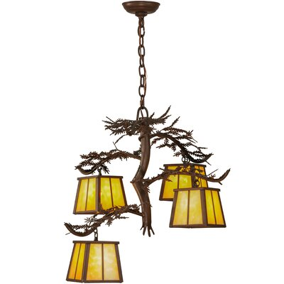 Pine Branch 4-Light Shaded Chandelier