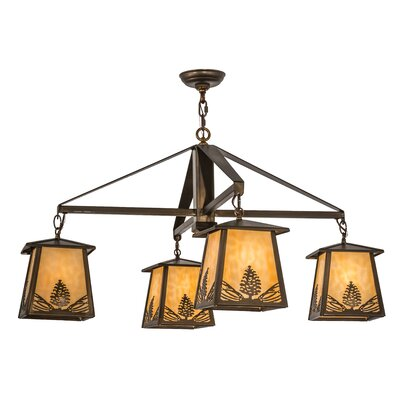 Stillwater Mountain Pine 4-Light Shaded Chandelier
