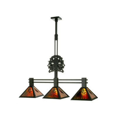 Oak Tree Oak Leaf 3-Light Kitchen Island Pendant Finish: Black